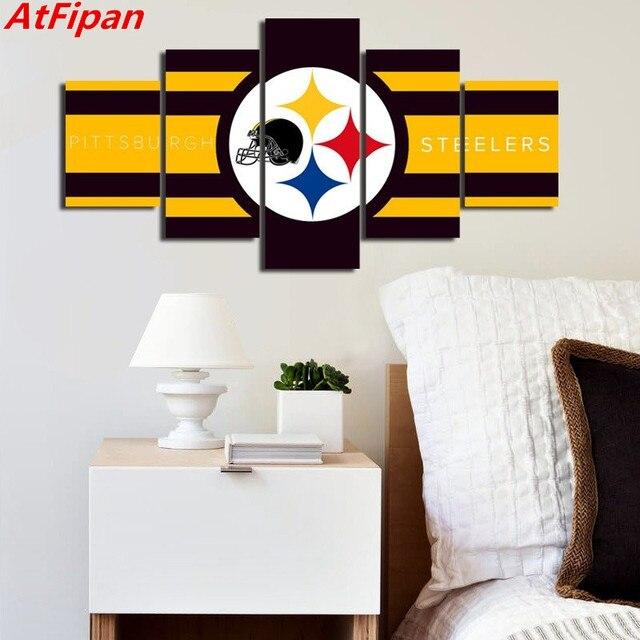 atfipan 5 panels pittsburgh steelers flag logo modern home wall