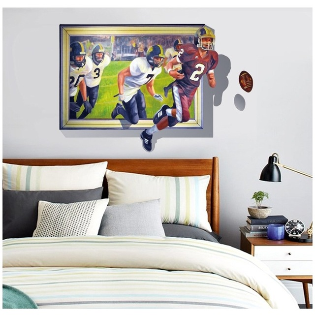 3d rugby wall home solid wall stickers decorative mural decorative arts living room bedroom home decoration accessories BK/093