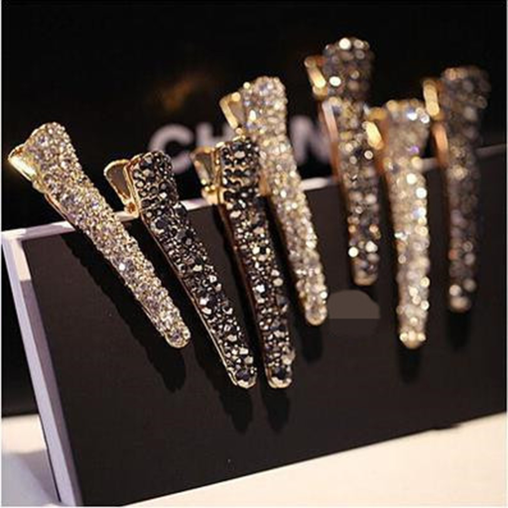 New Women Hair Clips Alloy Crystal Hairpins Barrettes Girls Elegant Hairgrips Hair Accessories Rhinestone Hair Styling Tools