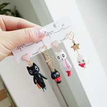 Korea Handmade Cute Cartoon Resin Cat Asymmetry Women Drop Earrings Dangle Fashion Jewelry-JQD5