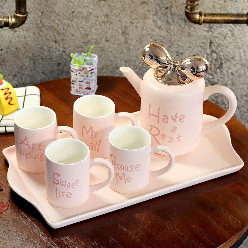 5 stks/set Europese Stijl Keramische Mokken Porselein Koffie Mokken Cups met Thee Pot Tuimelaars met Lade Cf651