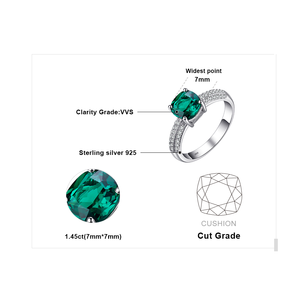JewelryPalace 1.7 ct Cushion Cut stvorio Emerald Vjenčanje bendova - Fine nakit - Foto 5