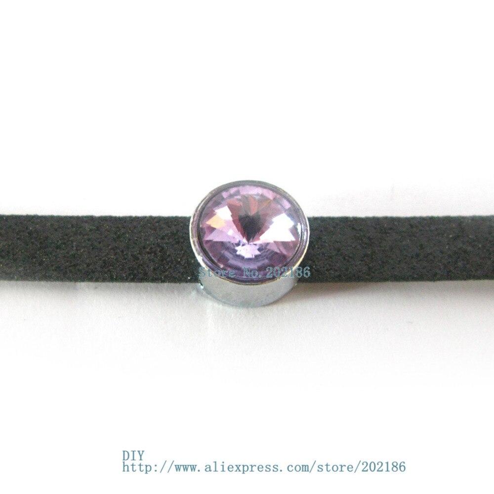 10pcs 8mm birthstone--June-Light purple slide Charms Jewelry Finding fit 8mm wristband pet collar key chain