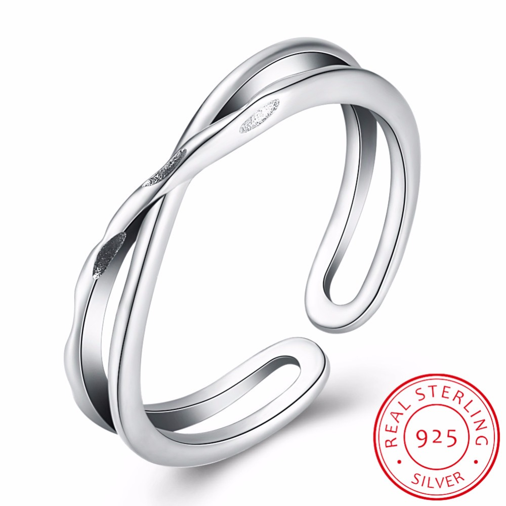 Genuine 925 Silver X Hollow Cross Open Ring Fashion Contracted Simple Adjustable Finger Jewelry For Women Girls Wholesale
