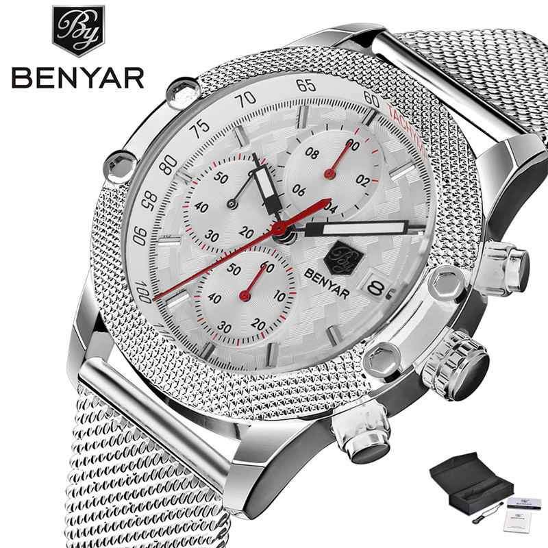 BENYAR Sport Men Quartz Wristwatch Date Chronograph Calendar Dial Mesh Stainless Steel Band Cost-effective Male Watches Gift simple minimalism casual men quartz wristwatch number dial genuine leather band cost effective natural wooden design male watch