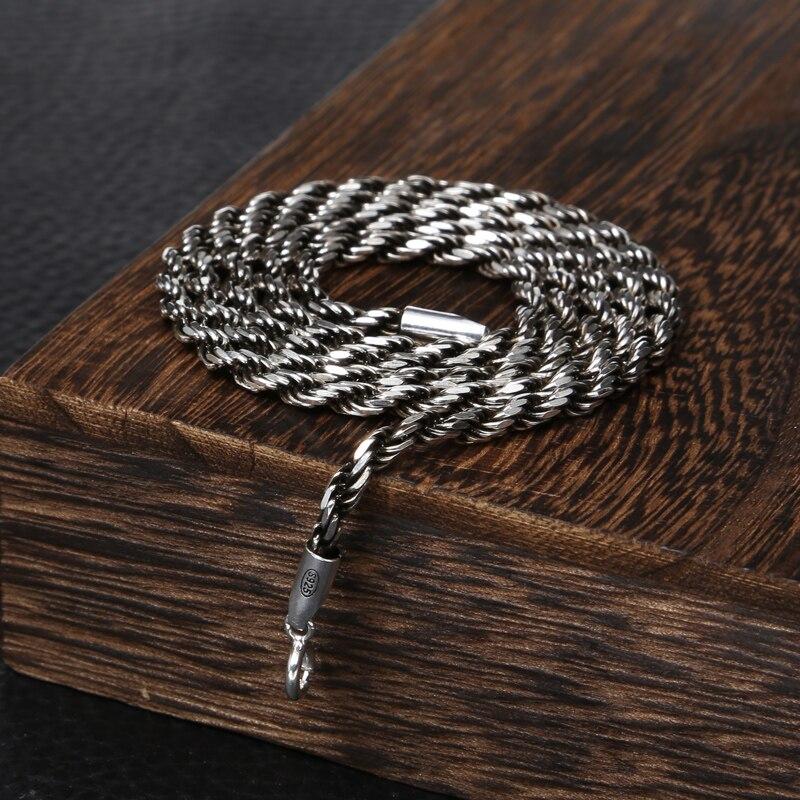 925 bijoux en argent sterling vintage mode collier pour femmes et hommes corde à tricoter personnalité 3mm large collier chaîne