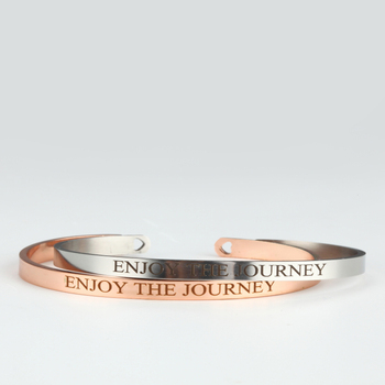 Enjoy The Journey Stainless Steel Engraved Inspirational Quote Cuff Bracelet Mantra Bracelet Bangle for Women