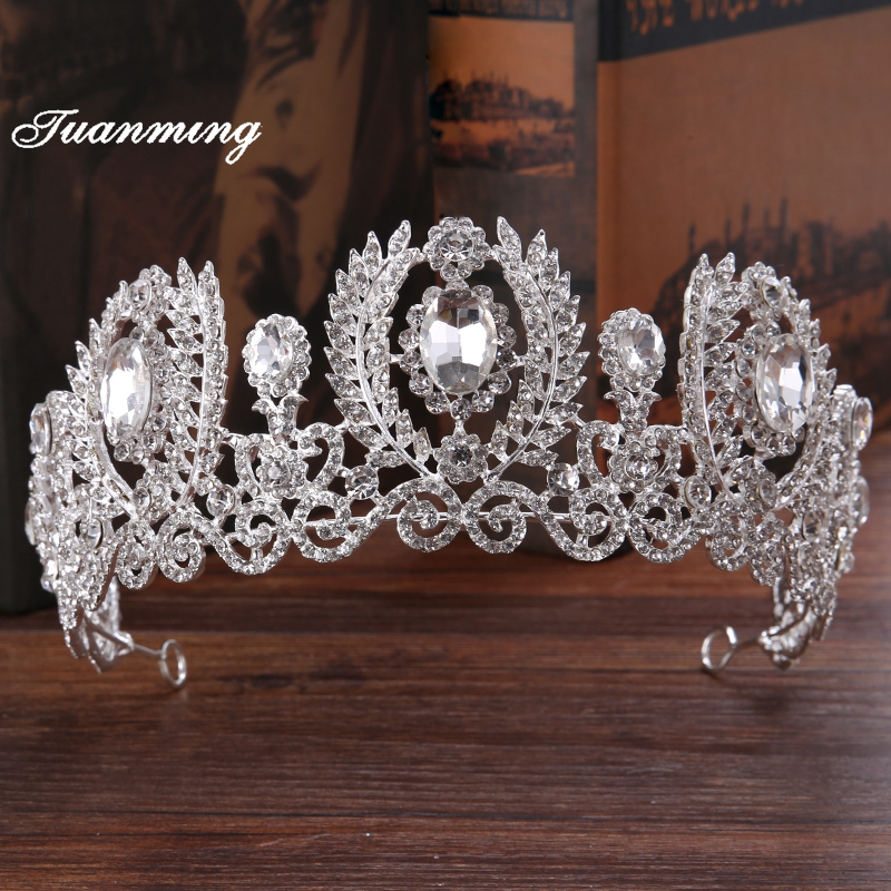 TUANMING Silver Crystal Women Bride Tiaras And Crowns Hollow Rhinestone Wedding Hairband Women Jewelry Hair Accessories