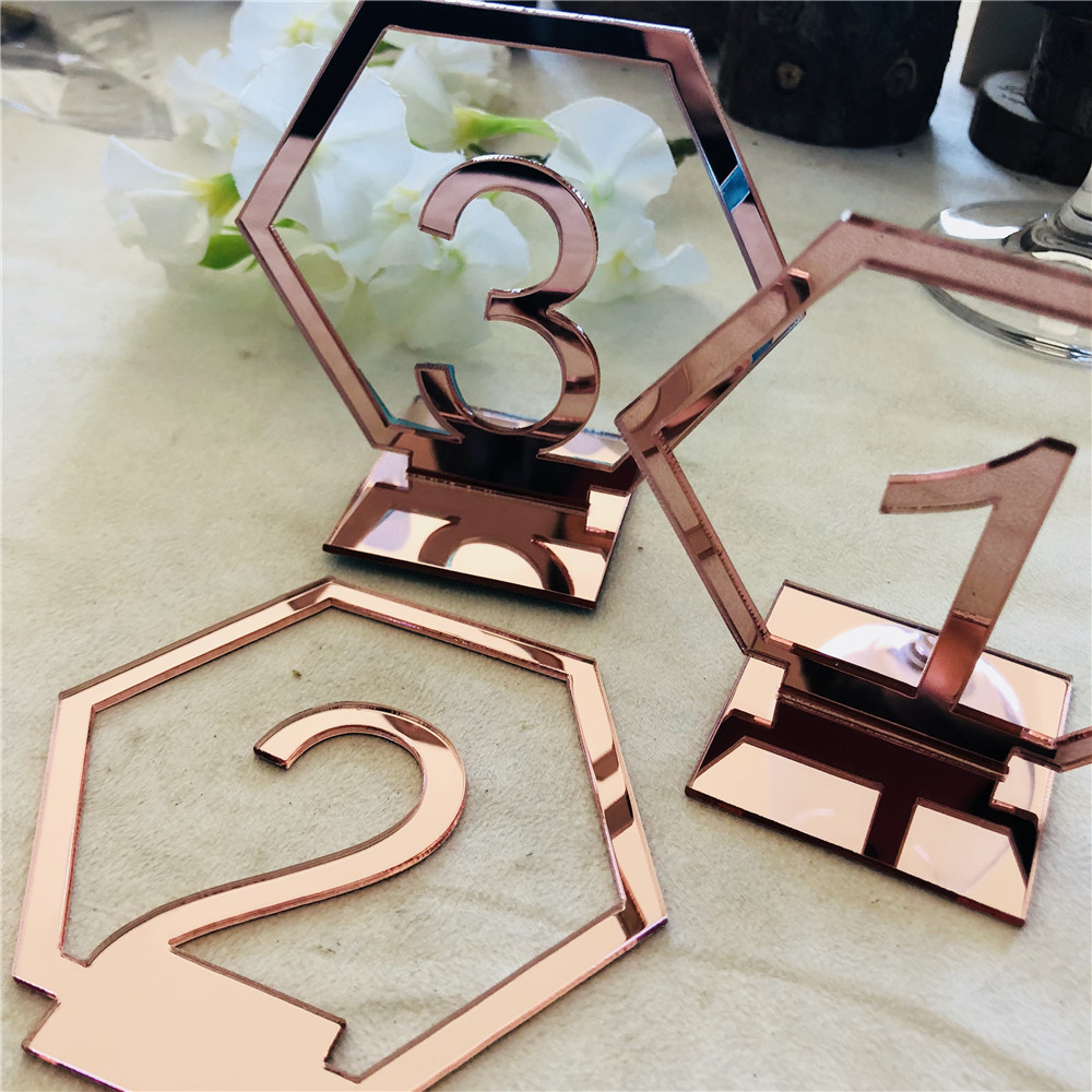 Acrylic Rose Gold Table Numbers Wedding Table Stand Number Sign Engagement Mariage Decoration Table Centerpieces (2)