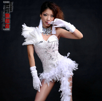 #0103 Hip Hop Jazz Sexy Bodysuit Stage Costumes For Singers Sparkling Female Singer White/Red Feather Performance White/Red