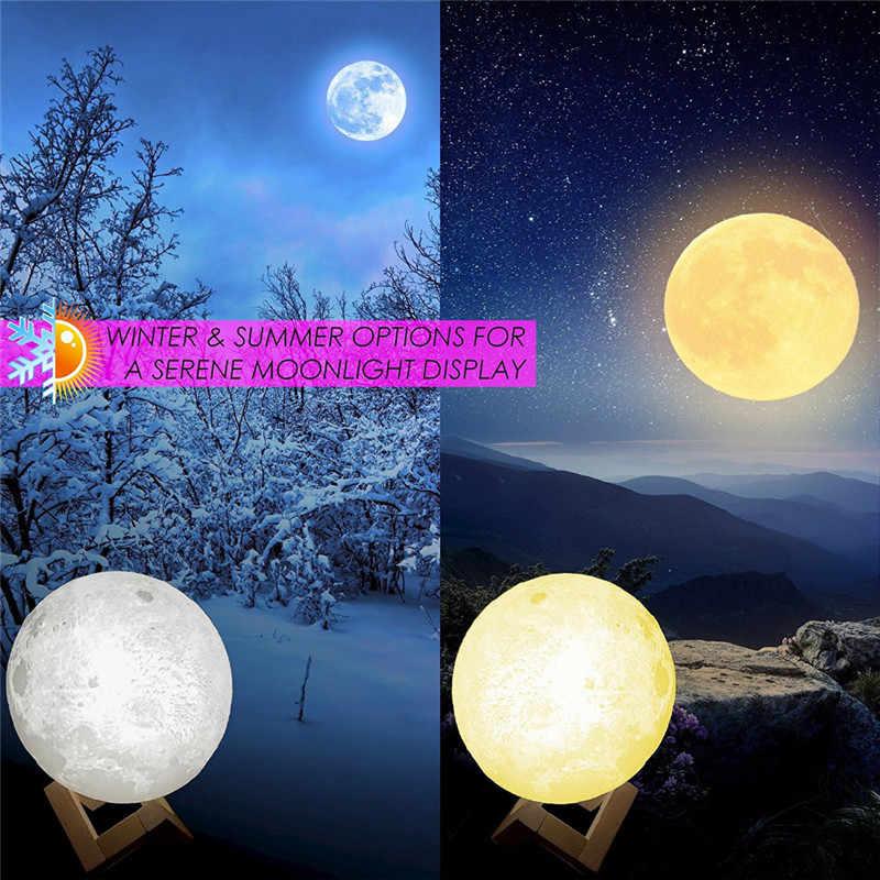 ZjRight IR télécommande 3D impression lune lampe 8/15cm Rechargeable 16 changement de couleur interrupteur tactile cadeau d'anniversaire décor à la maison bébé veilleuses