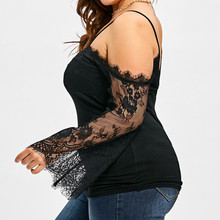 Large Size Women Cold Shoulder Lace Long Sleeve Blouse Summer women shirt casual Plus Size Tops