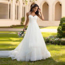 Simple Cheap Beach Boho Wedding Dresses 2019 Sweetheart Summer Tulle Bridal Lace Appliques suknia slubna