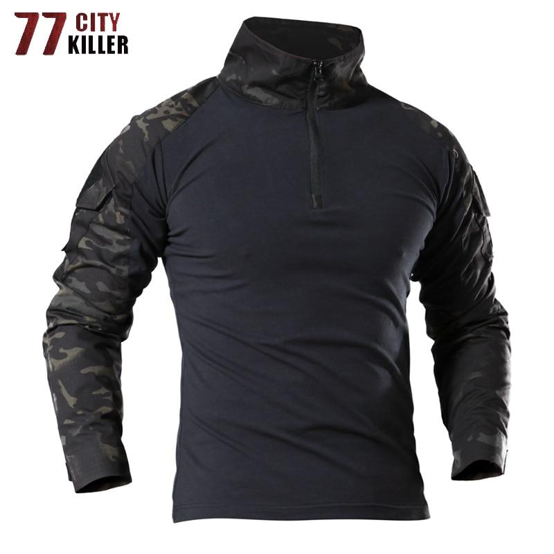 77City Killer Tactical Army T Shirt Men Combat Camouflage T Shirt Military Force Multicam Camo Long