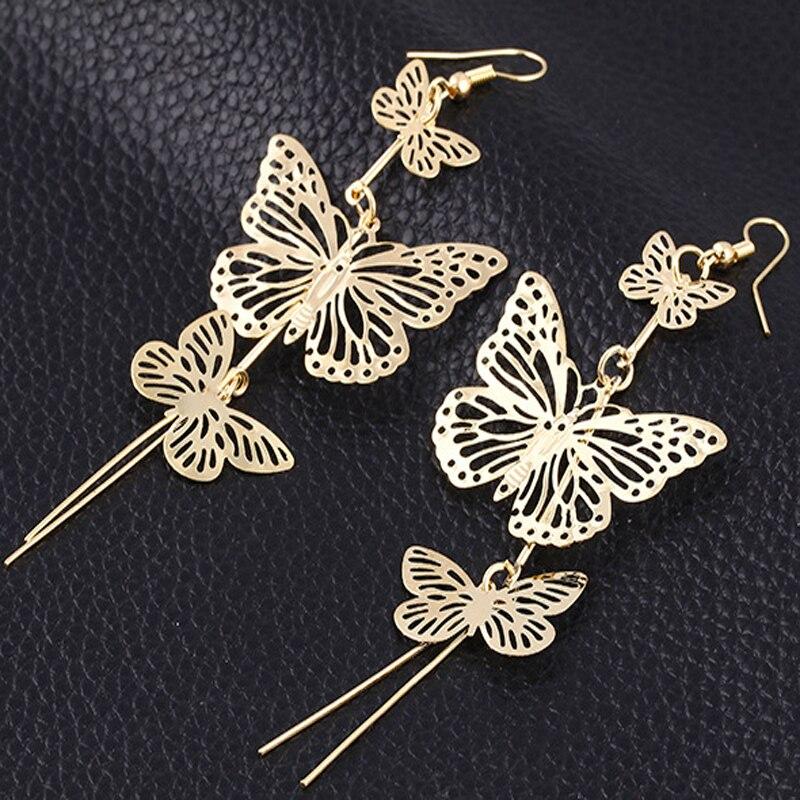 pendientes largos mariposa
