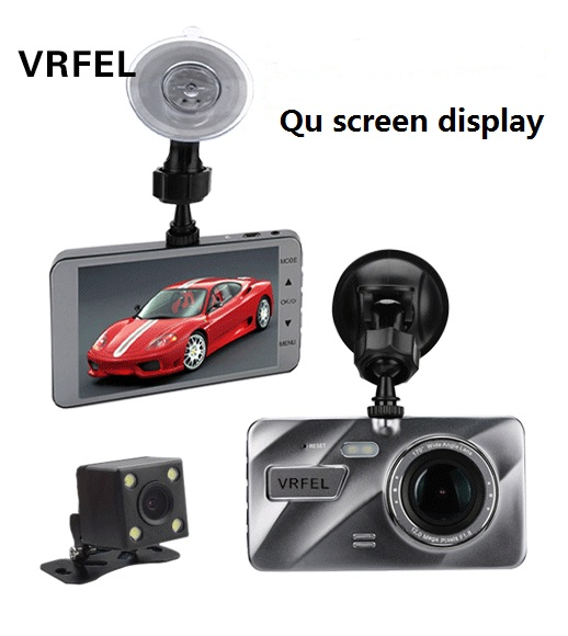 2018 Latest Curved Glass Display 4.0 Inch IPS Screen Car DVR Full HD 1080P Night Vision and Rear View Camera Dashboard Cams