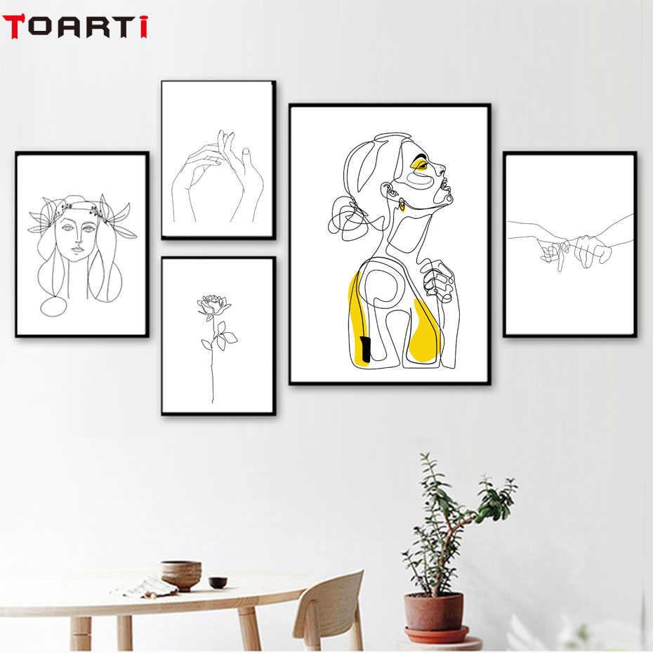 Абстрактная Женская линия рисунок Северный плакат и принты Современная живопись на холсте настенная живопись желтая девушка Настенная картина спальня домашний декор