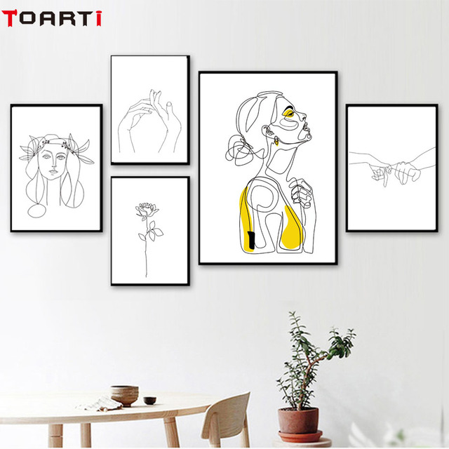 Abstract Women Line Drawing Nordic Poster&Prints Modern Canvas Painting Wall Art Yellow Girl Wall Picture Bedroom Home Decor