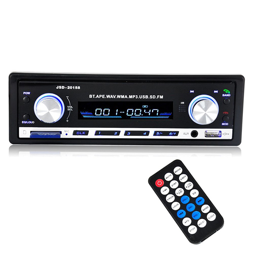12V 1 Din Car Audio MP3 Player Radio Bluetooth Car Stereo In Dash FM Receiver Aux-In USB/SD Autoradio Removable Panel Frame TDA image