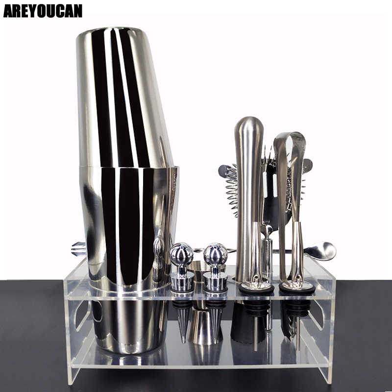 12 Pcs/Set 750/600ml Cocktail Shaker Set kit Bartender Kit shakers Stainless Steel Bar Tool Set Bartending Kit with Wine Rack