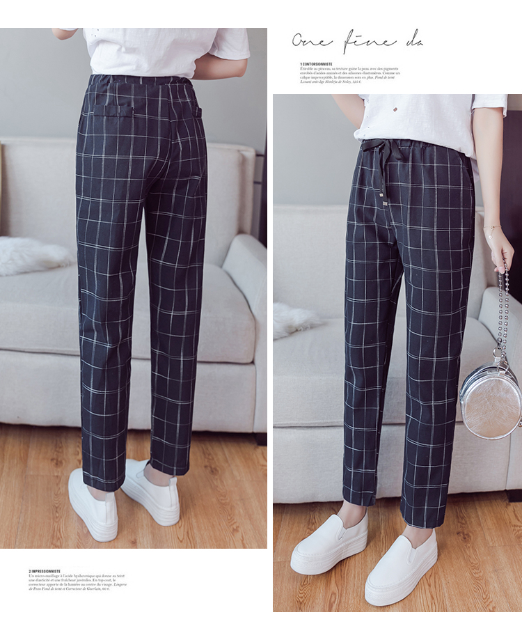 Make English plaid pants female easy to restore ancient ways recreational pants the spring and autumn period and the new female 8