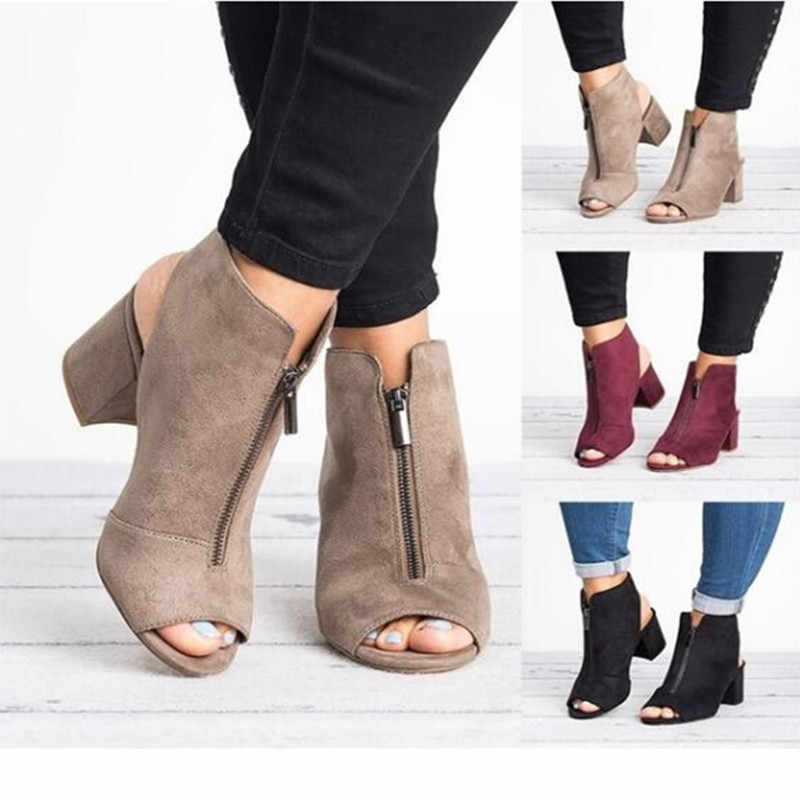 แฟชั่นข้อเท้ารองเท้าหนัง Faux Suede เปิด Peep Toe รองเท้าส้นสูงซิปแฟชั่นสแควร์สีดำรองเท้าผู้หญิง size3