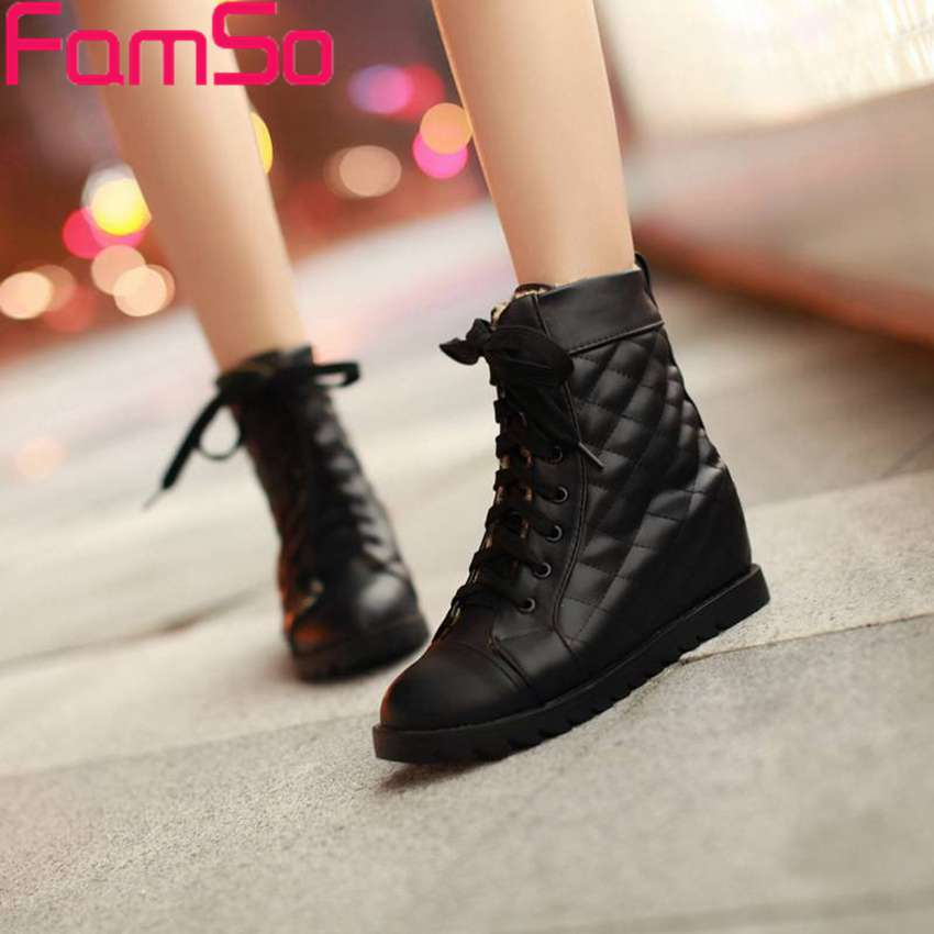 Free shipping 2016 New Sexy font b Women b font Boots Wedges Pumps Autumn Lace up