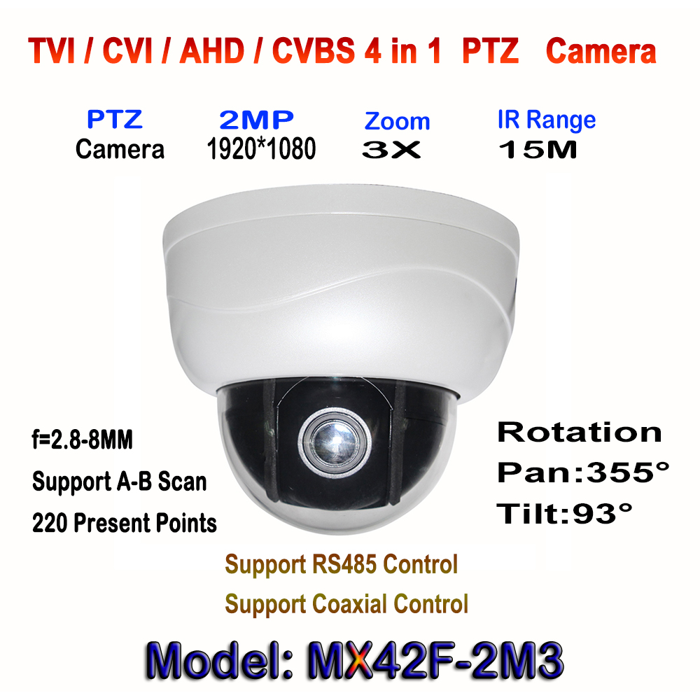 Best 2.0MP Day/Night IR 15M Mini PTZ Dome Camera x3 Auto Zoom 1080p 2.8-8mm Motorized Lens Work With HD-TVI CVI AHD Recorder DVR new ahd tvi cvi cvbs 1080p mini ir ptz night vision zoom dome camera zoom lens dome camera with 3x optical zoom 2mp motorized
