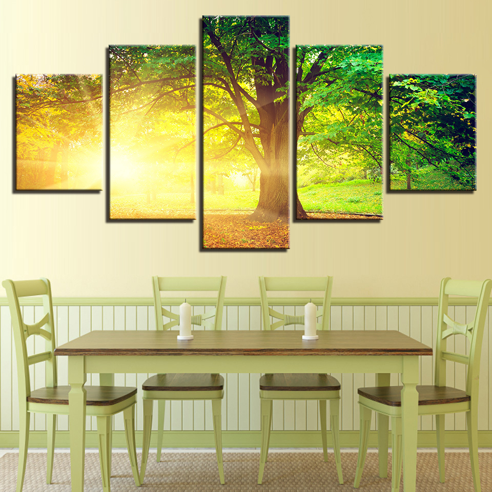 Canvas HD Prints Pictures For Living Room Wall Art 5 Pieces Sunlight ...