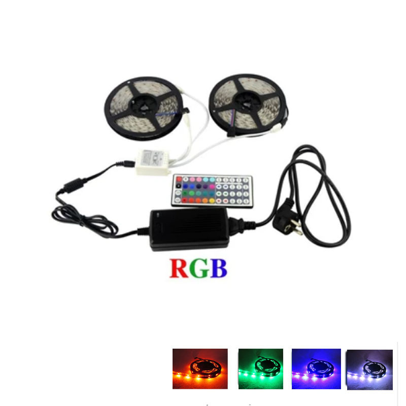 2 x 5M 12V 5050 RGB LED strip LED tape +44 key remote controller + Power Supply Kit Flexible LED Tape kit