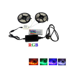 2 x 5M 12V 5050 RGB LED strip tape +44 key remote controller + Power Supply Kit Flexible Tape kit