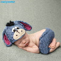 Fotografia Newborn Handmade Knitting Soft Hat Pants Set Dog Costume Baby Clothing Accessories For 0-6 Months Photography Props