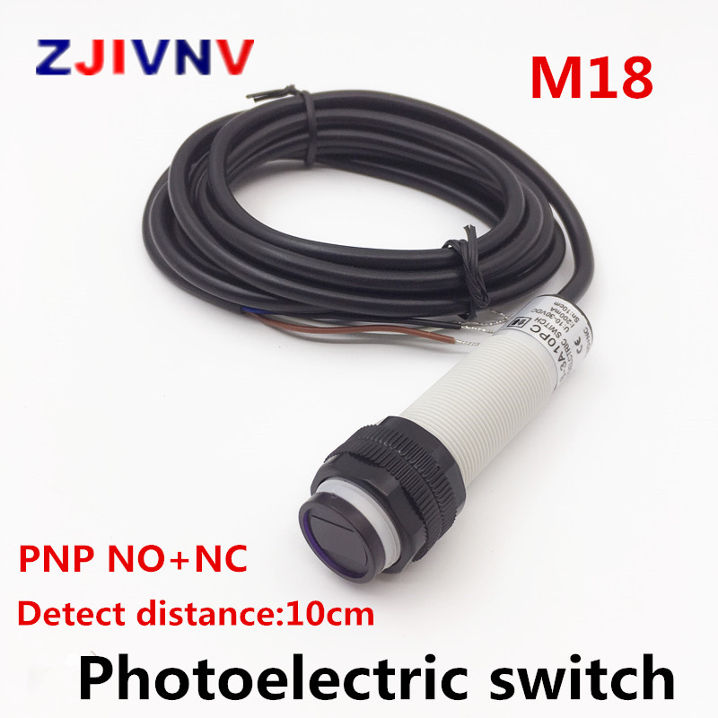 M18 diffuse type photoelectric switch M18 PNP NO+NC wires open Infrared photocell sensor with mirror reflector distance 10CMM18 diffuse type photoelectric switch M18 PNP NO+NC wires open Infrared photocell sensor with mirror reflector distance 10CM