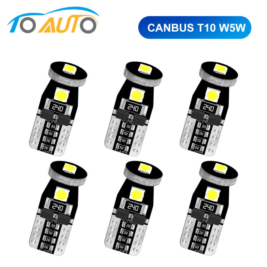 6pcs Canbus T10 W5W 194 168 LED Bulbs Car Interior Lights Super Bright 3030 Chip Reading Lights License Plate Auto Lamp 12V