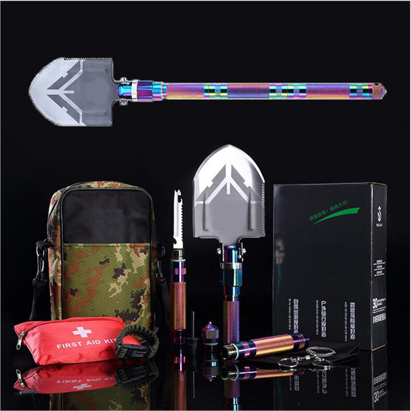17 functions EDC Portable Outdoor survival shovel Professional Military Tactical Multifunction Shovel Camping Pala folding Spade 2017 hot selling professional military tactical multifunction shovel outdoor camping survival folding spade tool equipment