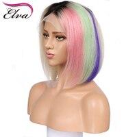Colorful 130% Density 13*4 Lace Front Human Hair Wig Brazilian Human Hair Short Bob Wigs Bleached Knots Remy Hair Elva Hair