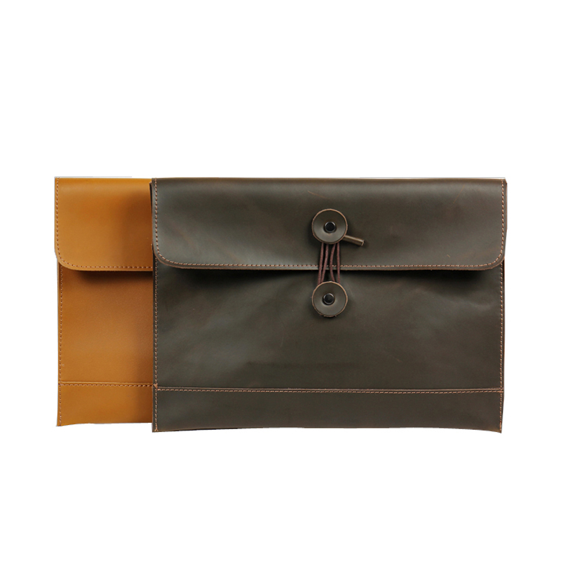 A4 Folder For Documents Genuine Leather Document Bag Solid Color A4 Filing Products Cow Leather Business Briefcase