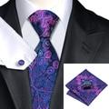 2016 Мода Синий Фиолетовый Цветочный Галстук Hanky Запонки Шелковый Галстук Галстуки Для Мужчин Деловых Свадьба C-483
