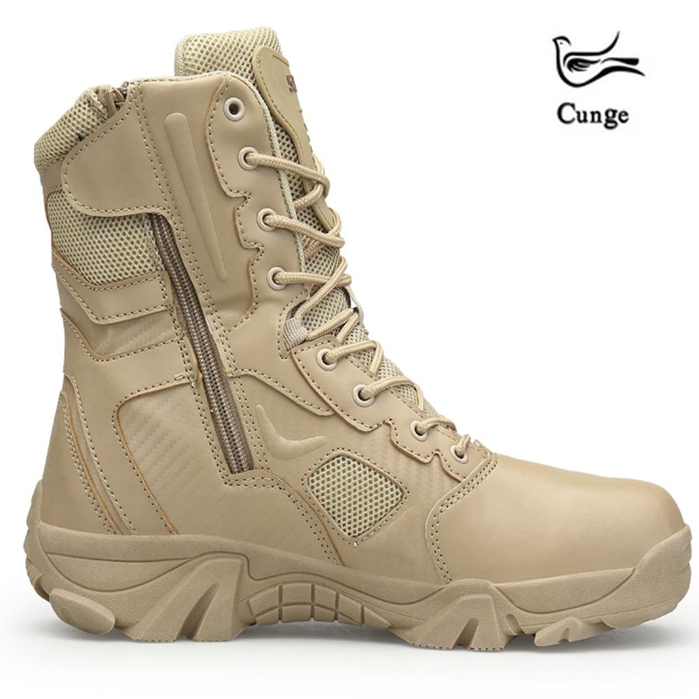 Cunge 2018 Outdoor Hiking Sepatu Pria Gurun Tinggi Militer Sepatu Taktis  Tempur Pria Boots Militares Sapatos 2046560a5e