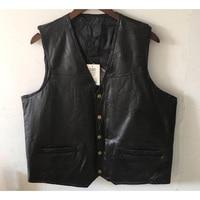 Motorcycle Vest Leather Men Black Waistcoat Male Biker Punk Genuine Leather Button Lace Up Autumn Sleeveless Jacket