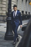 Fashionable Dark Blue Men Suits 2017 Elegant Men Suits Dinner Party Men S Beach Wedding Dress