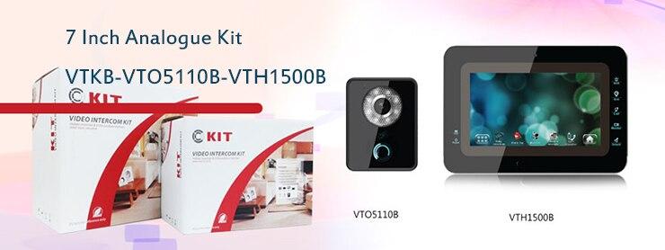 Free Shipping DAHUA 7 TFT Door Monitor Video Intercom Home Door Phone Recorder System without logo VTKB-VTO5110B-VTH1500B