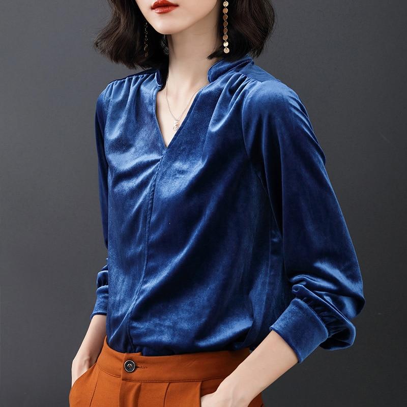 Vogue Larga Mujer Moda 2018 Kimono Y Tops Femeninas naranja verde Elasticity Camisas Manga Terciopelo Otoño Blusas Señoras Negro azul rp7qrR