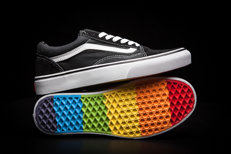 d260109692 Free Shipping VANS classic Old Skool rainbow men s canvas shoes ...