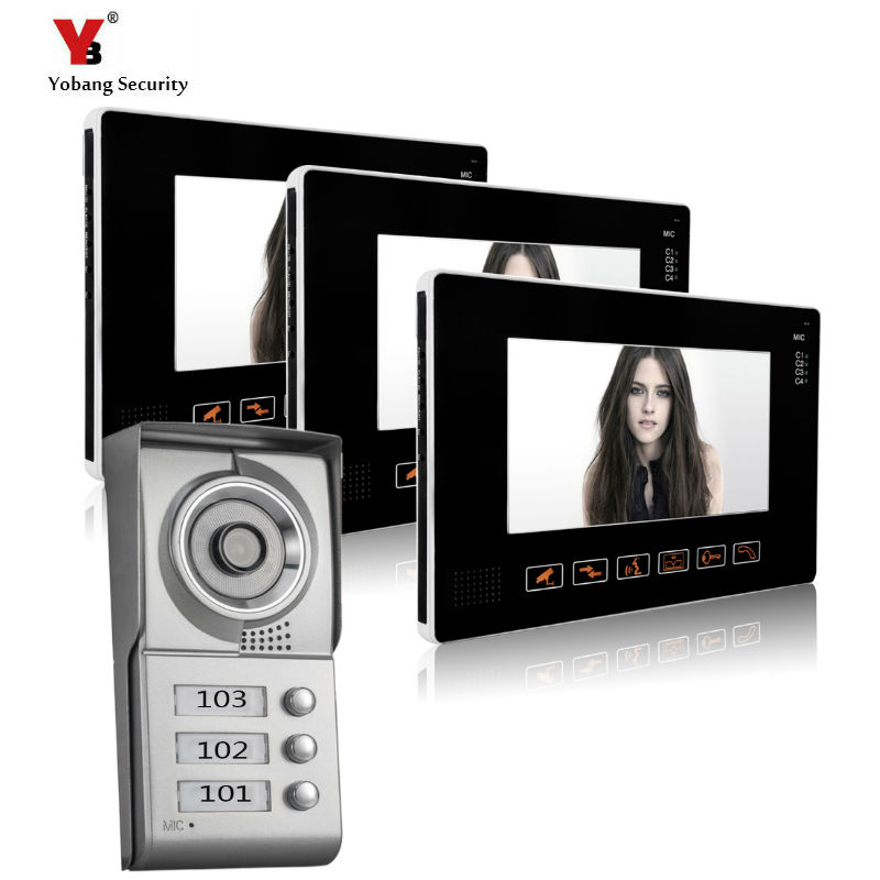 YoBang Security 9 Inch TFT Touch Screen Color LCD Video Door Phone Wired Video Intercom 3 white Monitor Doorbell Intercom system стоимость