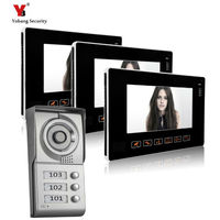 YoBang Security 9 Inch TFT Touch Screen Color LCD Video Door Phone Wired Video Intercom 3 white Monitor Doorbell Intercom system