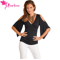 Dear Lover Stylish Off Shoulder Blouse Shirts Blusas Femininos 2016 Summer Sexy Women Black V Neck