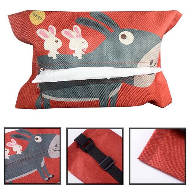 Cartoon Cloth Car Seat Back Hanging Storage Tissue Case Box Container Towel Napkin Papers Bag Holder Box Case