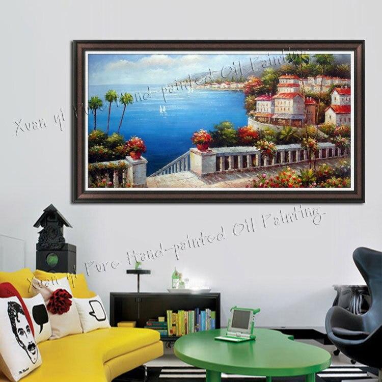Handgefertigte Wandkunst Moderne Dekoration Schöne Meer Mediterrane  Landschaft Ölgemälde Messer Malerei Auf Leinwand (Kein Rahmen) In  Handgefertigte ...