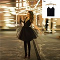 2 Pieces Sets For Women Black Mini Shirt Tulle Skirts With Cotton Tops Tutu Skirt Suits Tank As The Gift For Free Skirt Coat